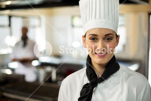 Portrait of smiling chef head