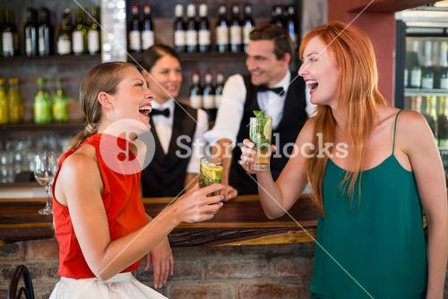 Happy friends holding a glass of gin in front of bar counter