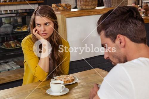 Couple sitting and tension feeling