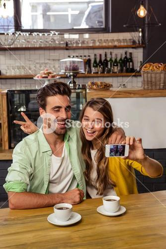 Funny couple taking a selfie