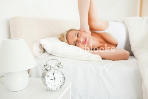 Upset woman waking up