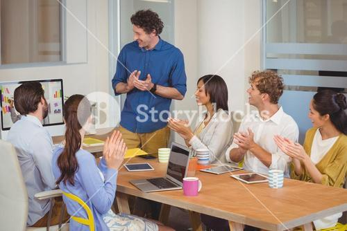A worker team is doing a video conference