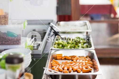 Lunch service station in school cafeteria