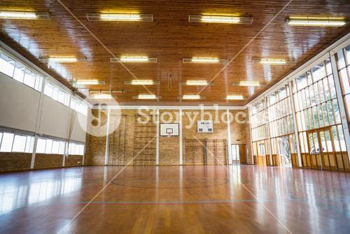 Interior of school gym hall