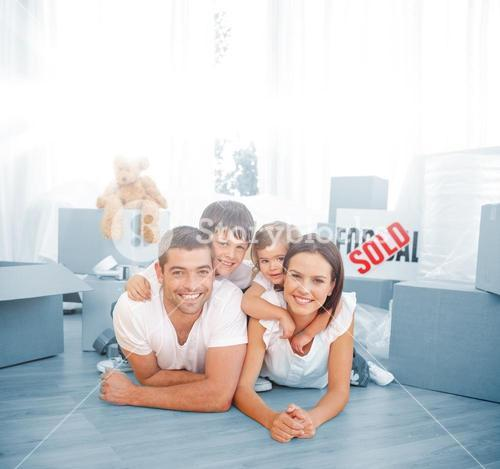 Happy family after buying new house