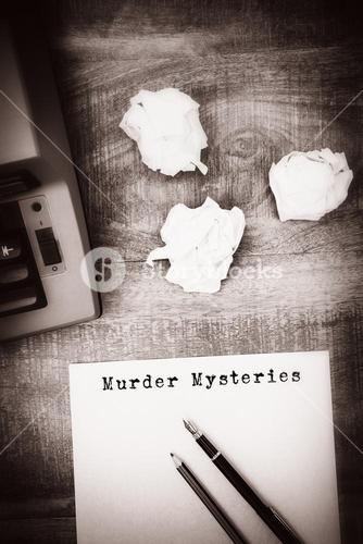 Composite image of murder mysteries message on a white background