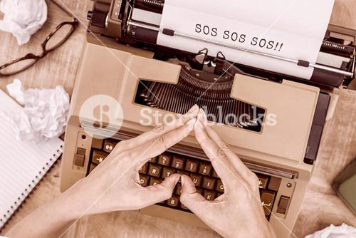 Composite image of sos message on a white background