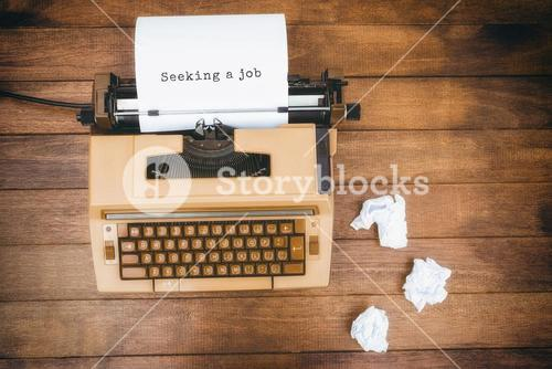 Composite image of seeking a job message on a white background