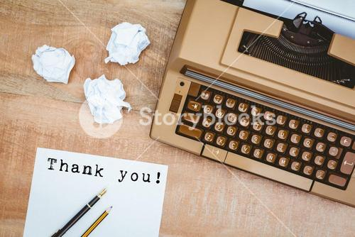 Composite image of thank you! message on a white background