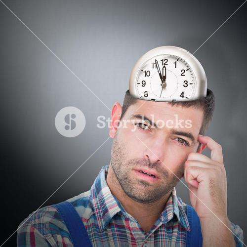 Composite image of portrait of confused manual worker scratching head