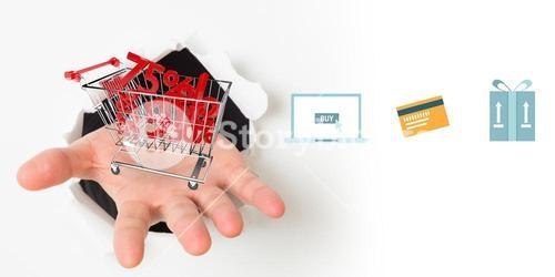 Composite image of digital shopping online diagram on a white background