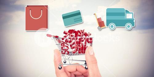 Composite image of digital shopping diagram on a white background