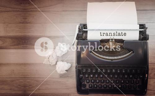 Composite image of translate message on a white background