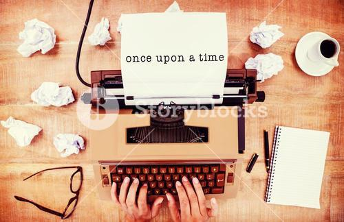 Composite image of once upon a time message on a white background