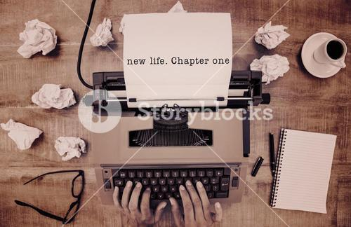 Composite image of new life chapter one message on a white background