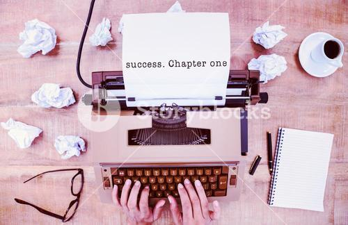 Composite image of success. chapter one message on a white background