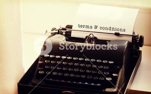 Composite image of terms and conditions message on a white background
