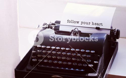 Composite image of follow your heart message on a white background