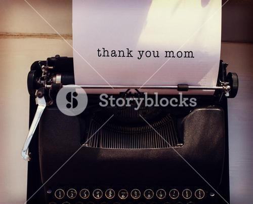 Composite image of thank you mom message on a white background