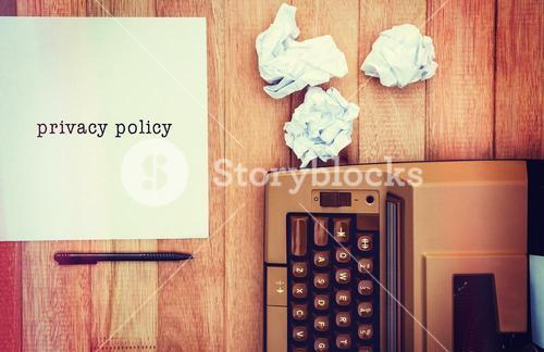 Composite image of privacy policy message on a white background