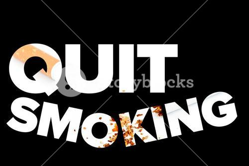 Quit smoking message on a black background