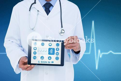 Composite image of a doctor showing digital tablet