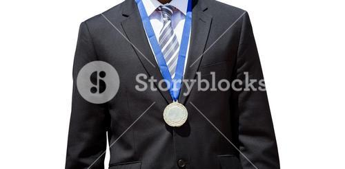 Close up of businessman chest with medal