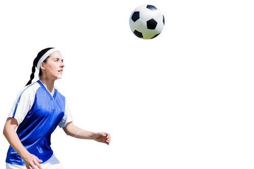 Woman soccer player waiting the ball