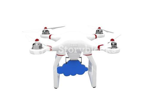 Digital image of a drone holding a cloud