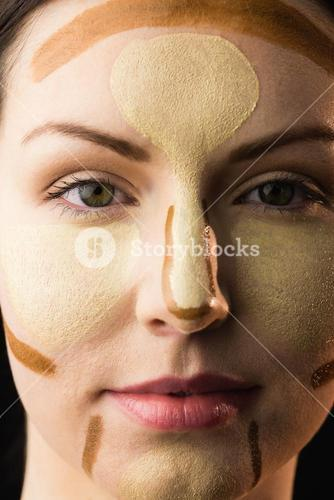 Portrait of woman with contouring makeup