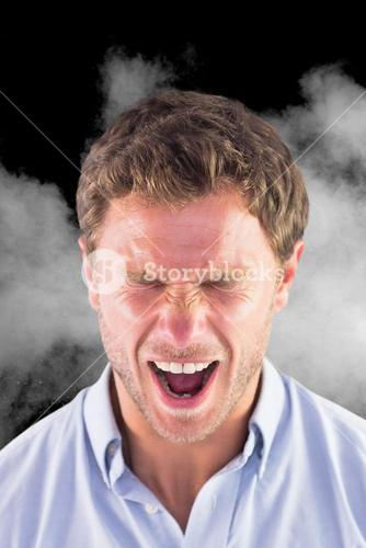 Composite image of angry businessman is screaming