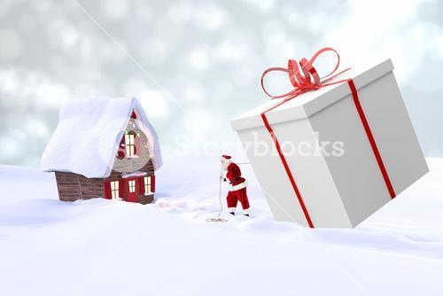 Composite image of Santa is bringing a gift