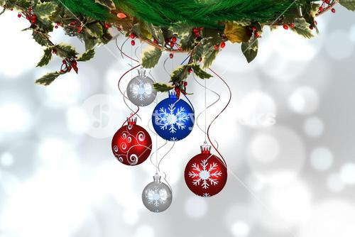 Composite image of Christmas ornaments