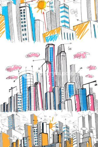 Composite image of cityscape drawing