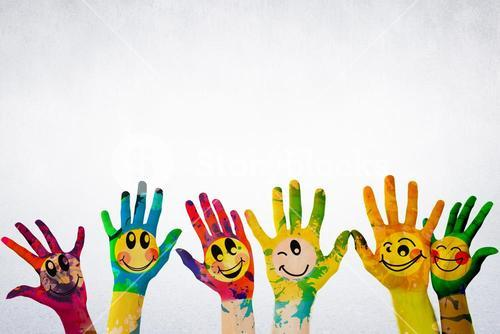 Composite image of children hands with paint