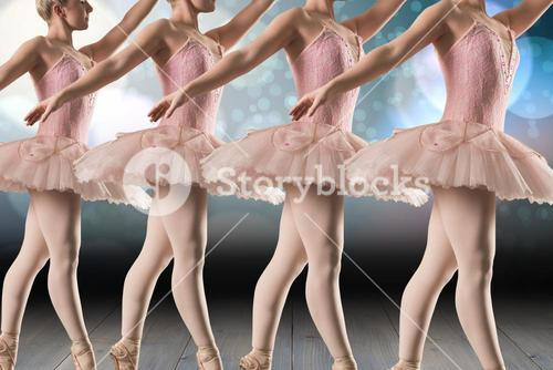Composite image of ballerinas are dancing