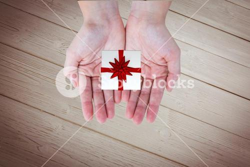 Composite image of someone is holding a small present