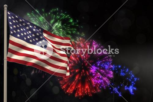 Composite image of american flag is fluttering