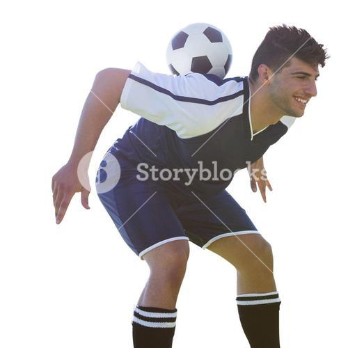 Man soccer player keeping the ball on his back