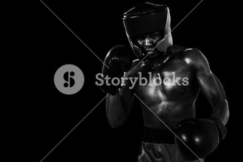 Composite image of boxer performing boxing stance