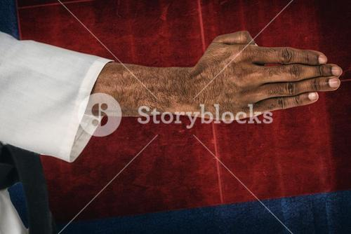 Composite image of close up view oh hands