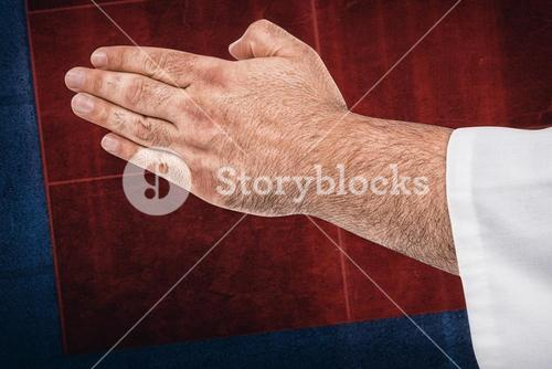 Composite image of close-up of karate fighter making hand gesture