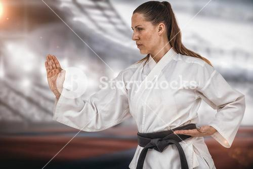 Composite image of female fighter performing karate stance