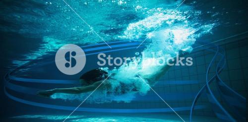 Composite image of athletic swimmer smiling at camera underwater