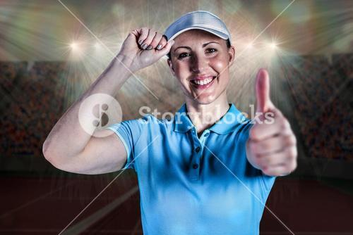 Composite image of sportswoman posing on black background