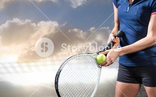 Composite image of tennis player holding a racquet ready to serve