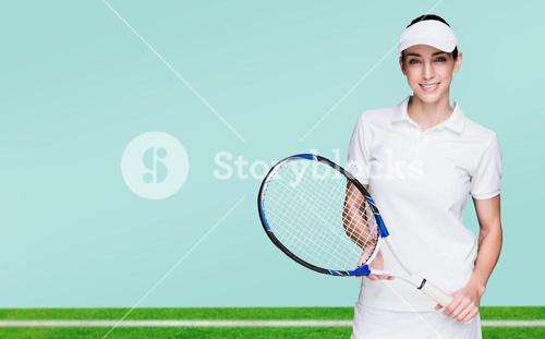Composite image of female athlete posing with tennis racket