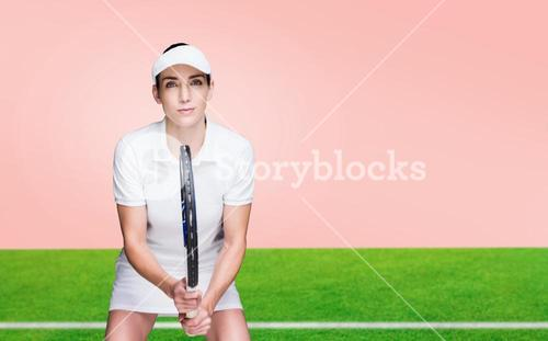Composite image of female athlete playing tennis
