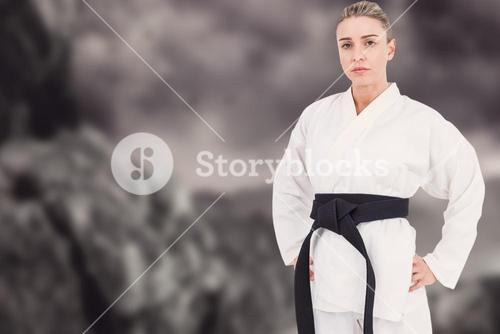 Composite image of female athlete posing in kimono