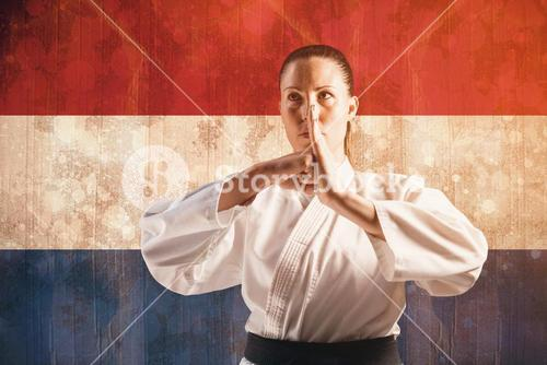 Composite image of female fighter performing hand salute